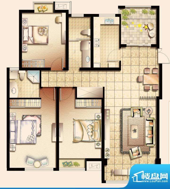 幸福魔方B户型 3室2面积:137.00平米
