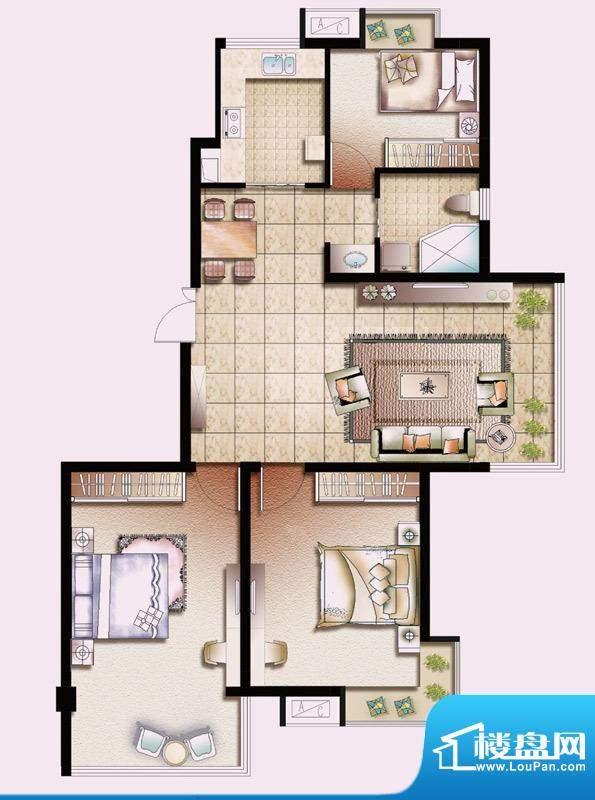 幸福魔方A户型 3室2面积:107.00平米