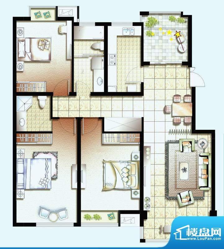幸福魔方C户型 3室2面积:128.95平米