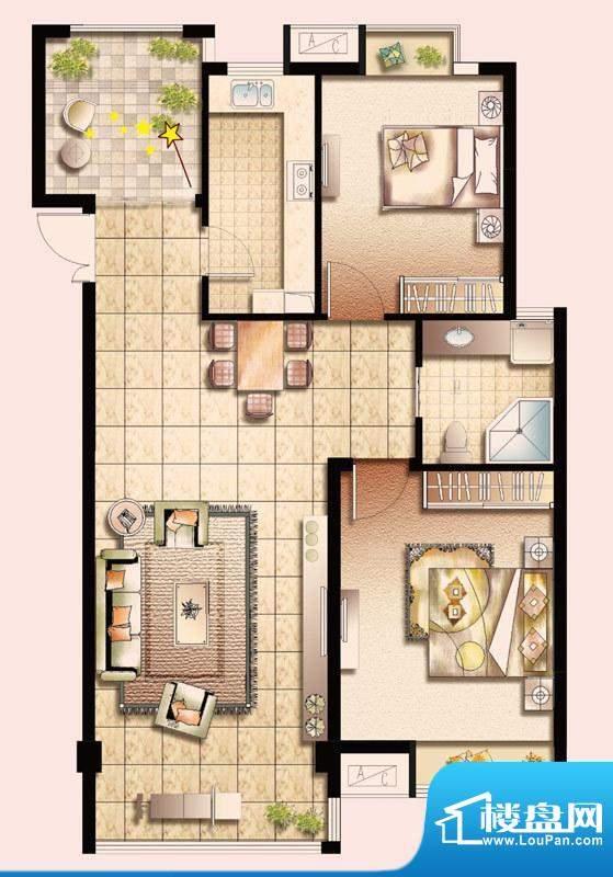 幸福魔方D户型 2室2面积:100.00平米