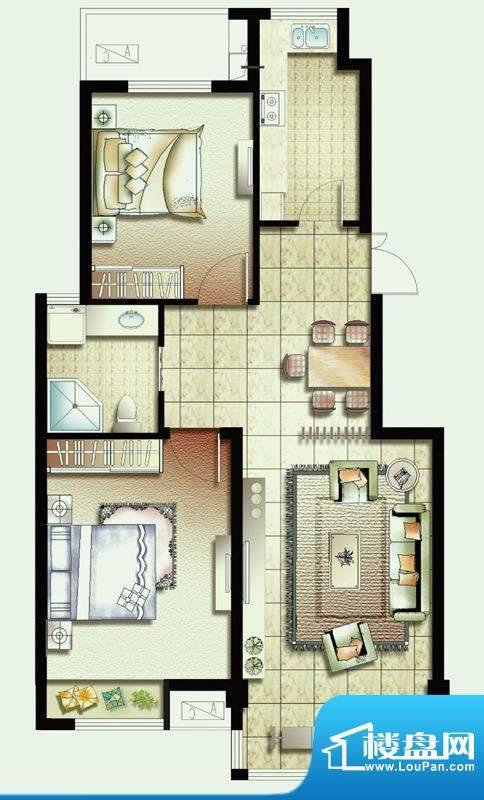 幸福魔方F户型 2室2面积:89.00平米