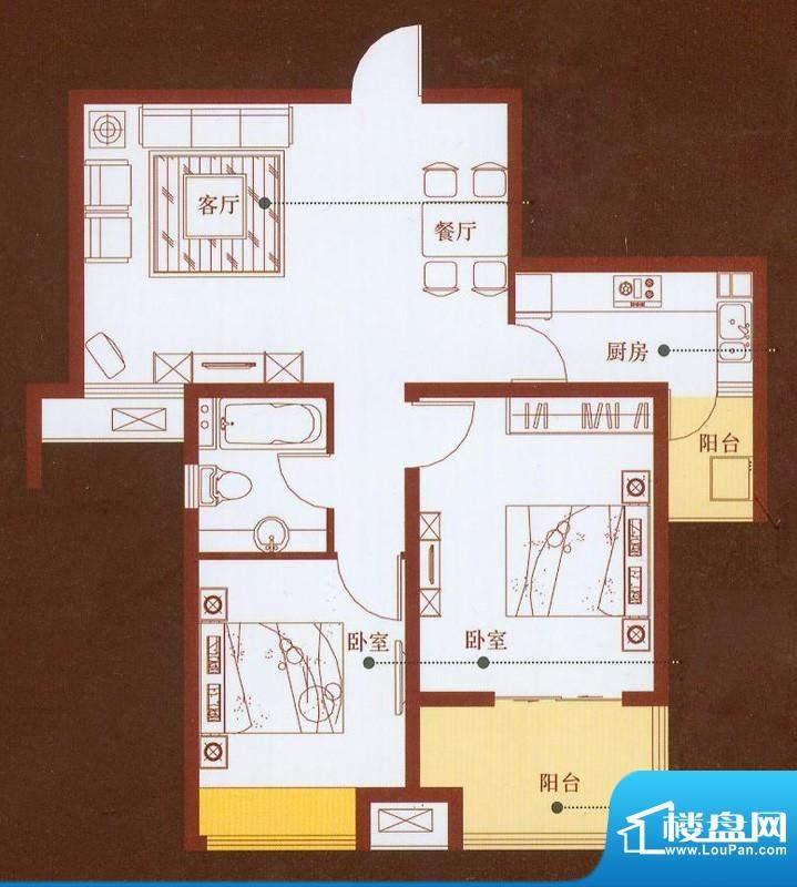 龙商天骄E户型 2室2面积:88.00平米