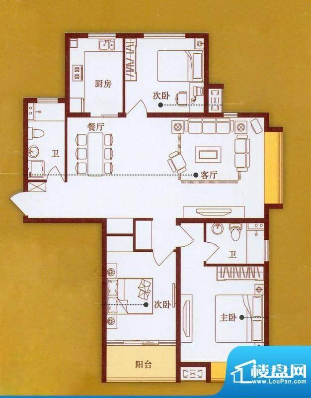 龙商天骄D户型 3室2面积:140.00平米