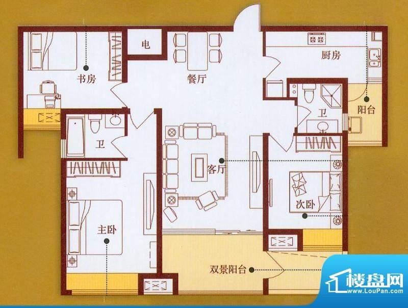 龙商天骄C户型 3室2面积:119.60平米