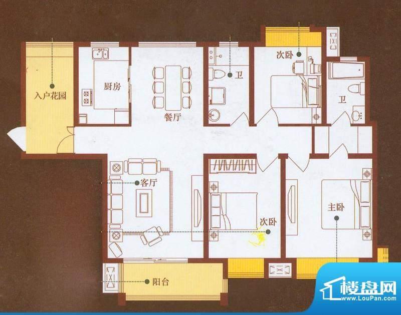 龙商天骄B户型 3室2面积:141.40平米