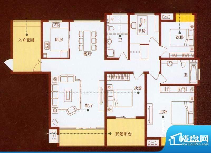 龙商天骄A户型 4室2面积:185.00平米