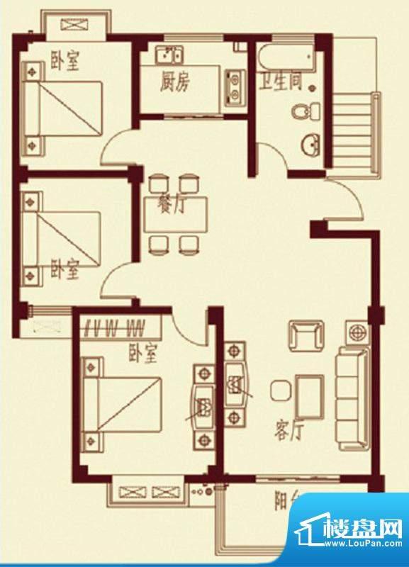 河畔花都E1户型 3室面积:102.90平米