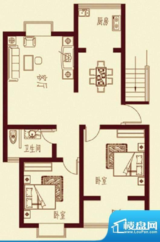 河畔花都C1户型 2室面积:90.90平米