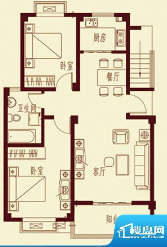 河畔花都C2户型 2室面积:89.10平米