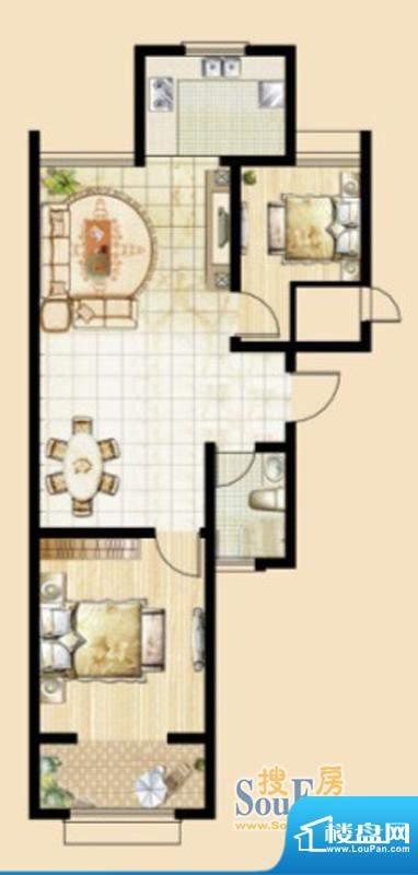 文华美景K1户型 2室面积:88.01平米