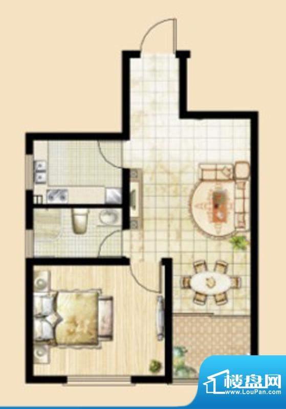 文华美景K2户型 1室面积:60.49平米