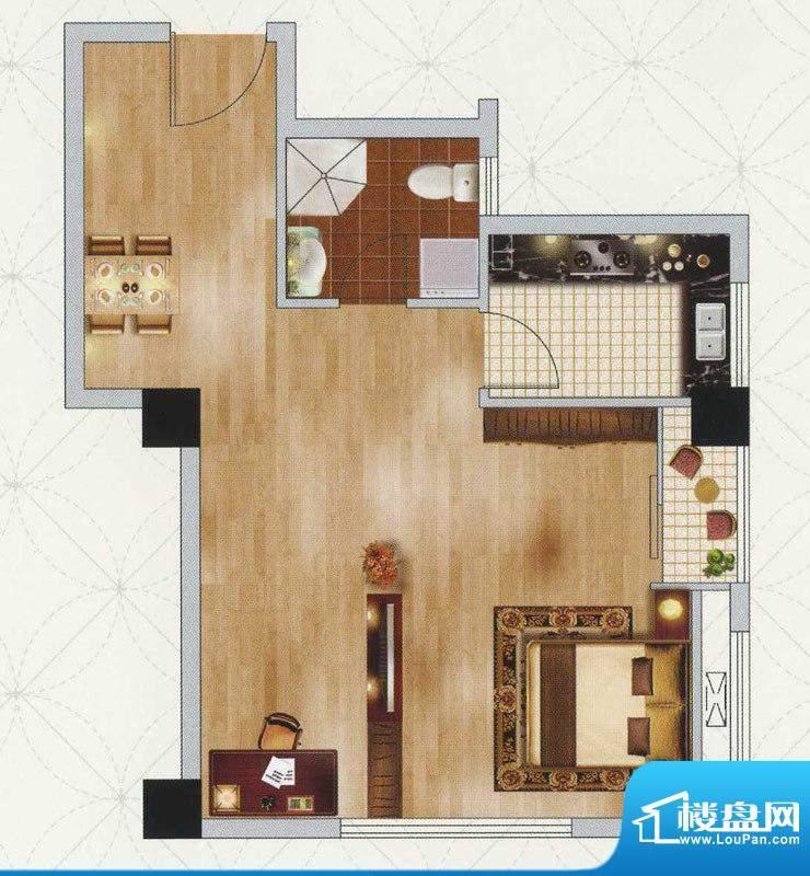 江南左岸E户型 2室1面积:57.00平米