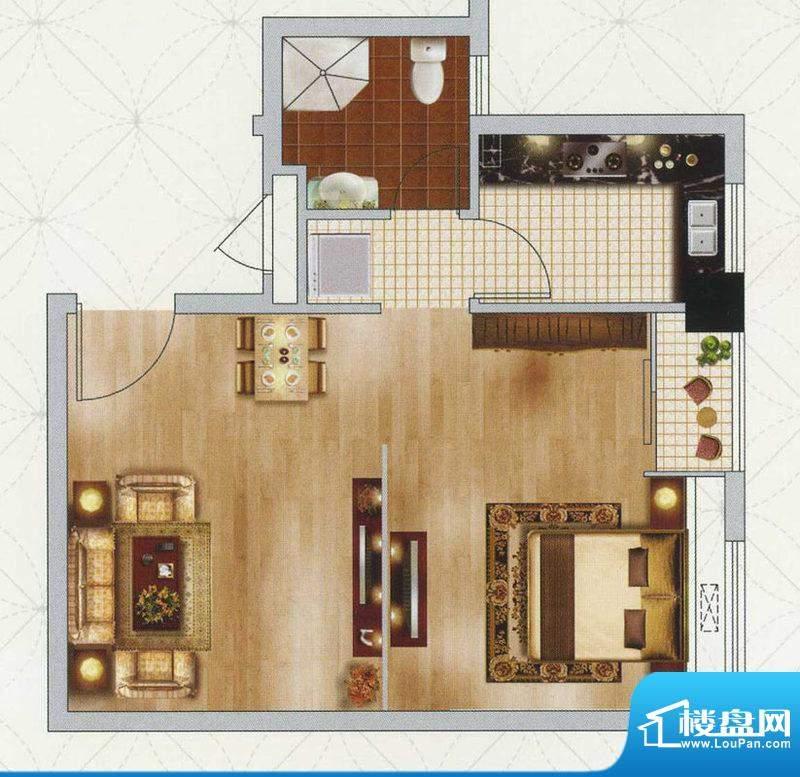 江南左岸D户型 1室1面积:52.00平米