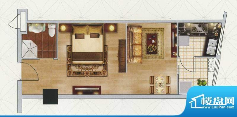 江南左岸B户型 1室1面积:60.00平米