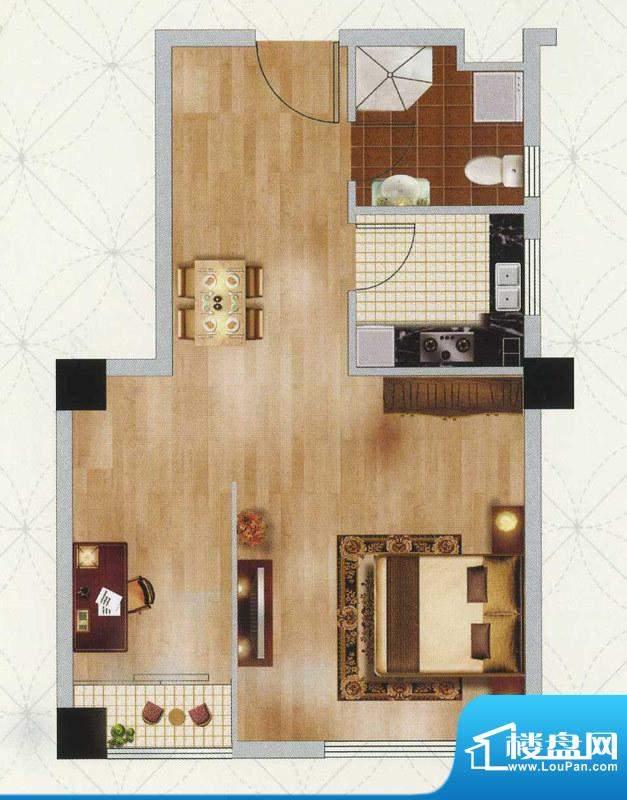 江南左岸F户型 2室1面积:53.00平米