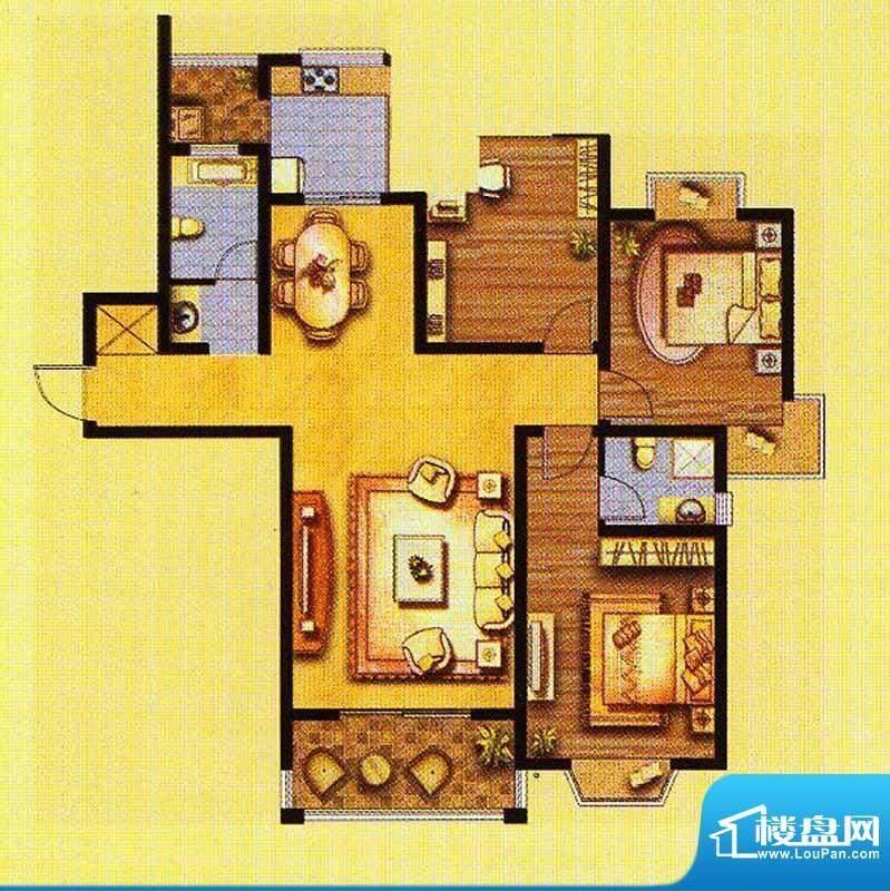 锦绣豪庭至尊居 3室面积:138.00平米