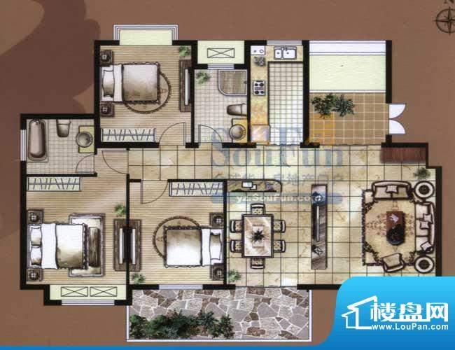 骏和国际公馆C2户型面积:136.00平米