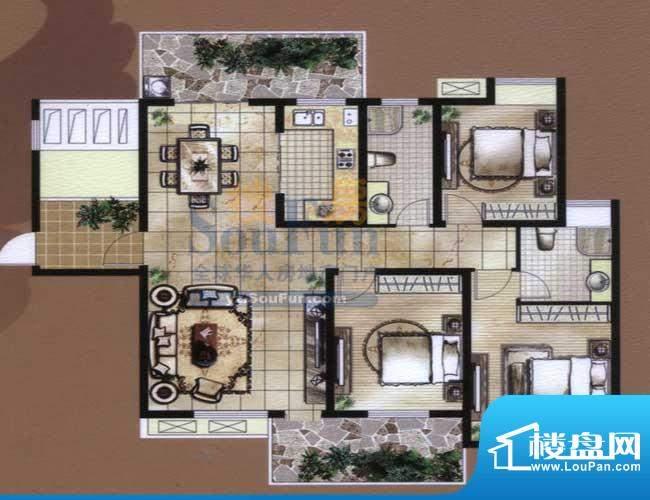 骏和国际公馆B2户型面积:140.00平米