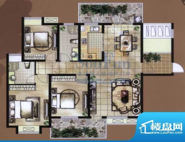 骏和国际公馆B1户型面积:140.00平米