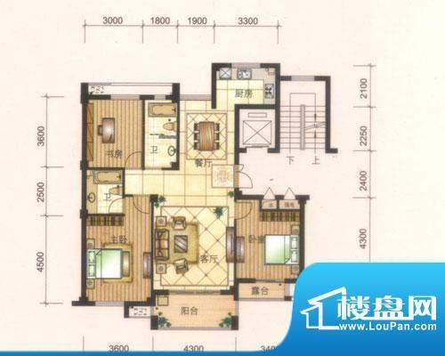 旺庭公馆6#楼D户型 面积:125.00平米