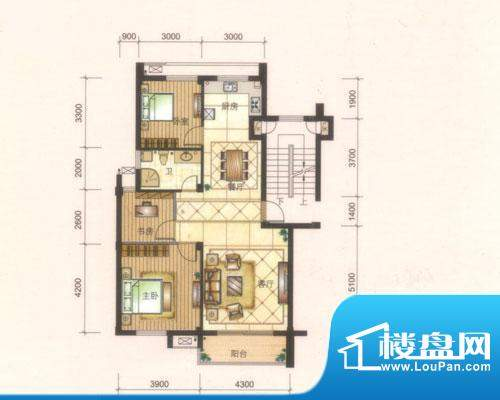 旺庭公馆7#楼E户型 面积:100.00平米