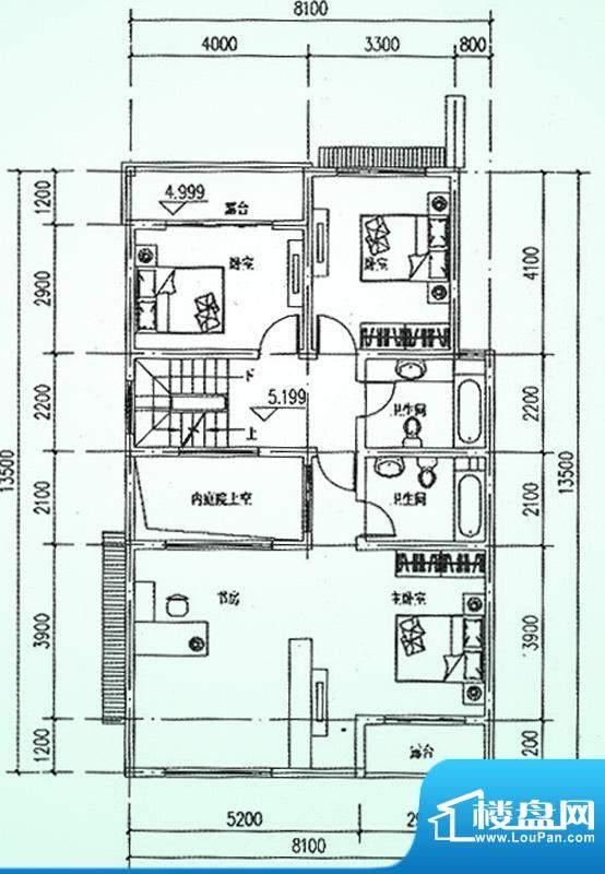 水韵福邸B户型二层 面积:278.00平米