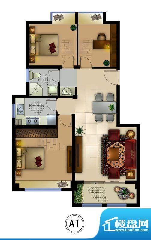 正德君城A1户型 3室面积:89.00平米