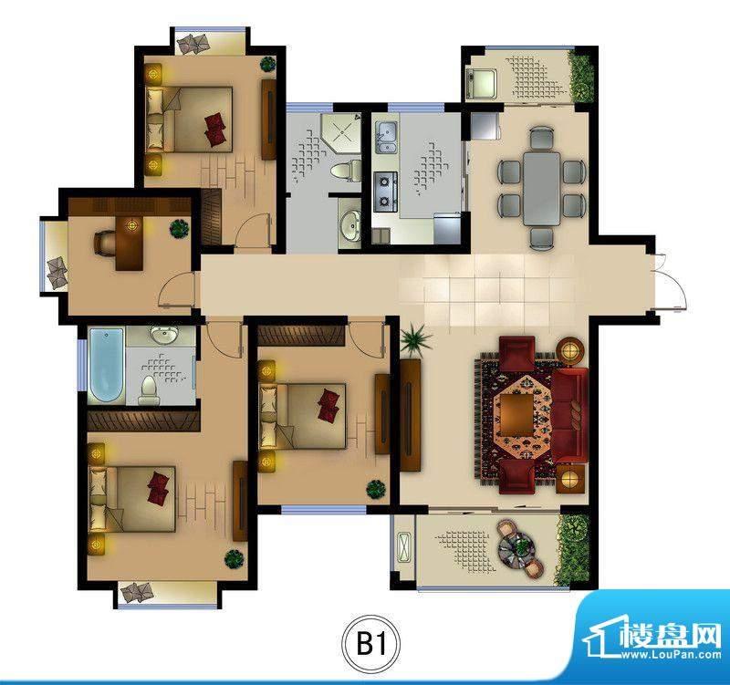 正德君城B1户型 4室面积:129.00平米