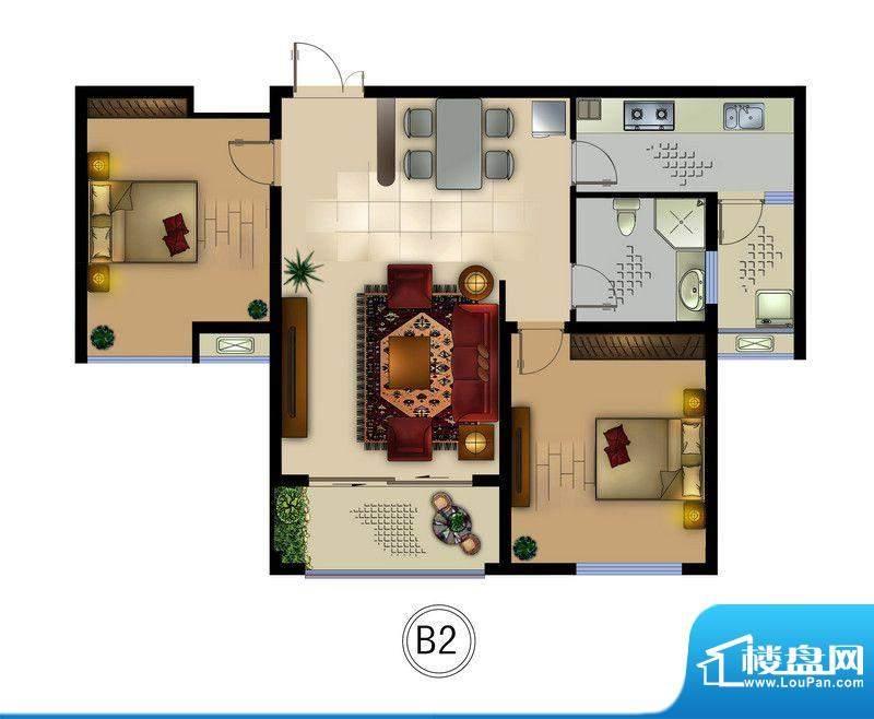 正德君城B2户型 2室面积:87.00平米