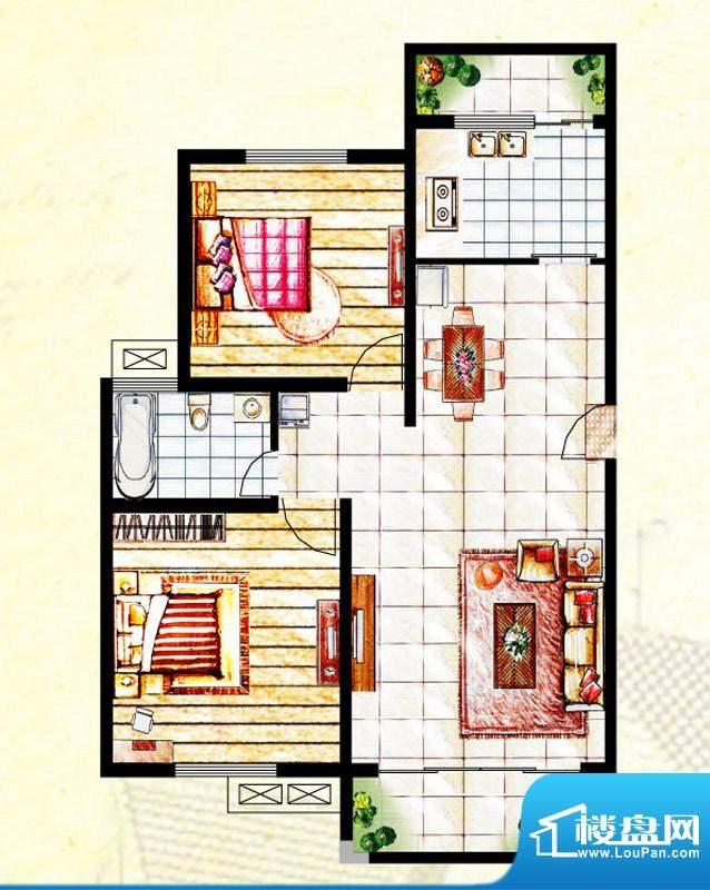 汉爵御苑D户型 2室1面积:90.40平米