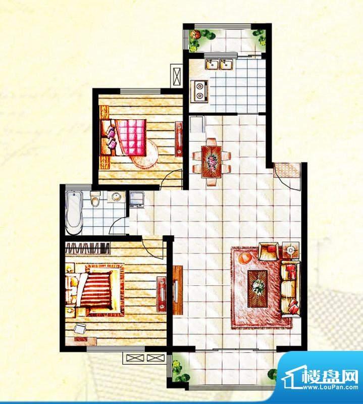 汉爵御苑D1户型 2室面积:104.80平米
