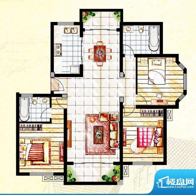 汉爵御苑E户型 3室2面积:127.40平米