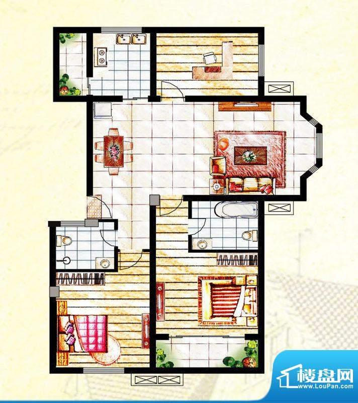 汉爵御苑G户型 3室2面积:122.50平米