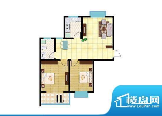锦祥鑫贵G户型 2室2面积:90.59平米