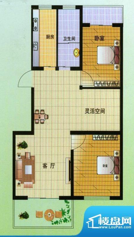 翡翠星座D户型 2室2面积:90.00平米