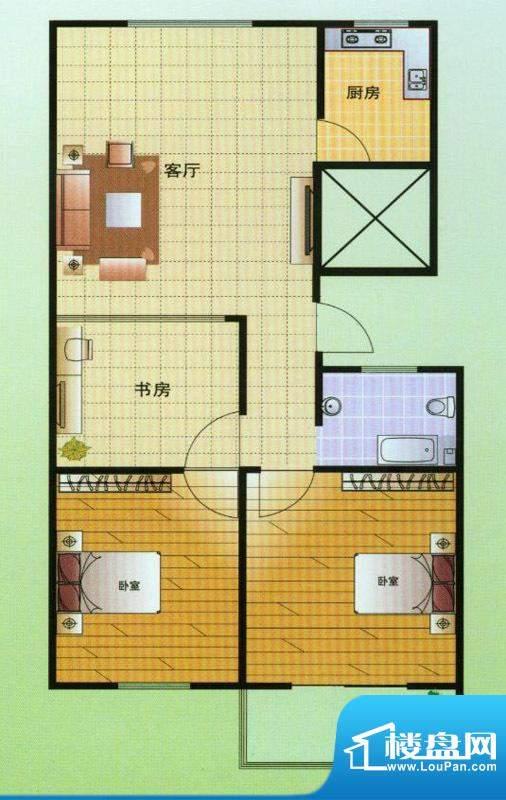 翡翠星座C户型 3室2面积:108.00平米