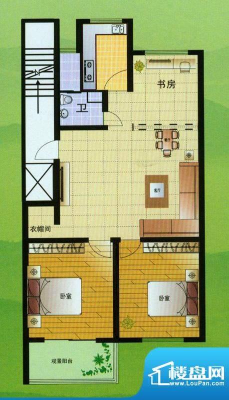 翡翠星座A户型 3室2面积:111.00平米
