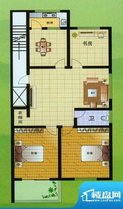 翡翠星座B户型 3室2面积:120.00平米