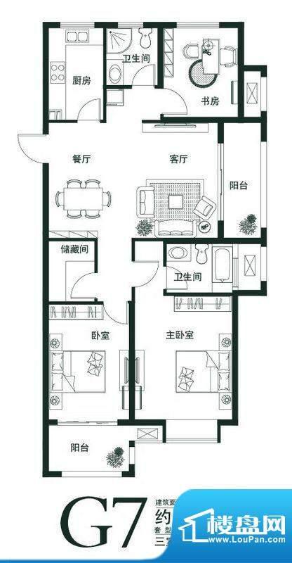 山语世家G7户型 3室面积:118.00平米