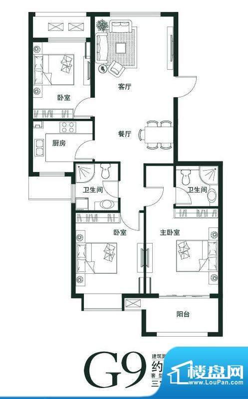 山语世家G9户型 3室面积:111.00平米
