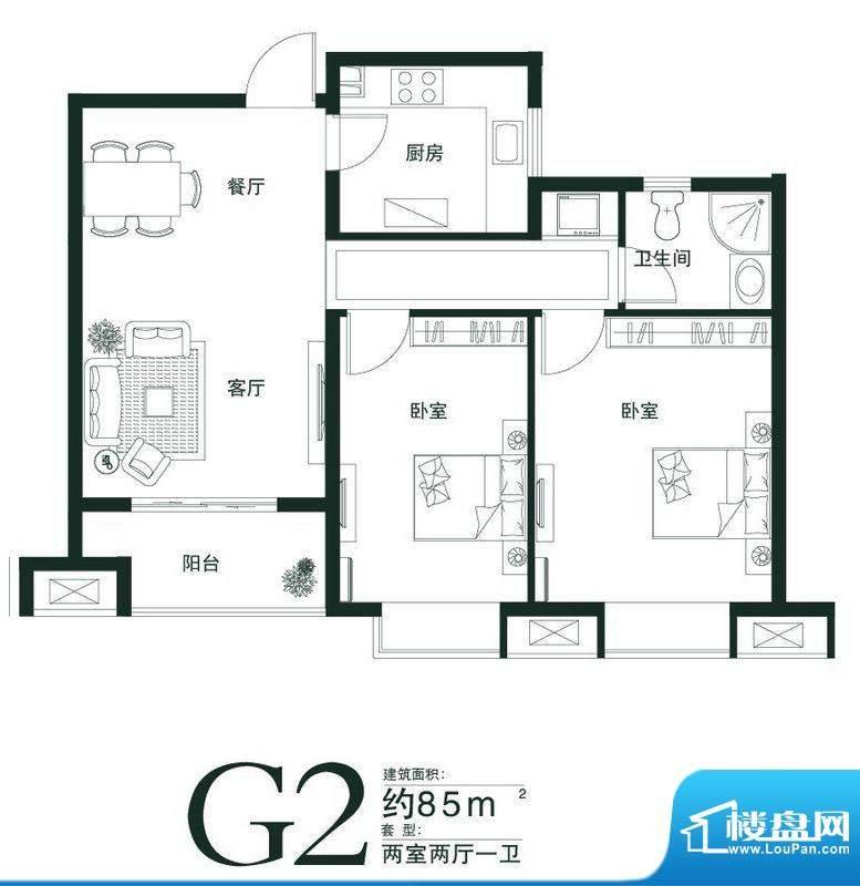 山语世家G2户型 2室面积:85.00平米