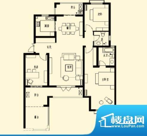 加州玫瑰园2F-D1 3室面积:140.60平米