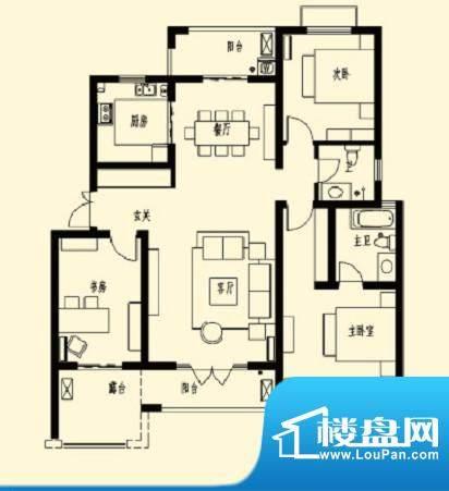 加州玫瑰园3F-D1 3室面积:136.30平米