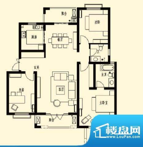 加州玫瑰园4F-D1 3室面积:130.00平米