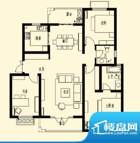 加州玫瑰园5F-D1 3室面积:123.30平米