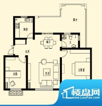加州玫瑰园6F-D1 2室面积:92.50平米