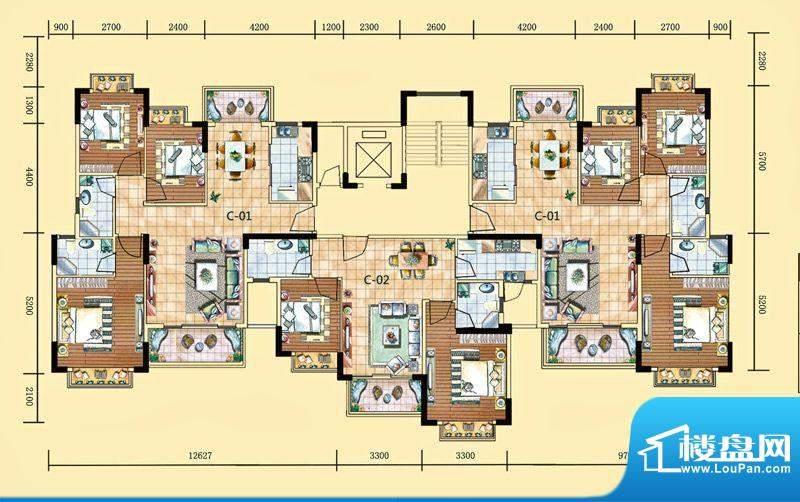 南湾豪庭12栋C-1、C面积:103.78m平米