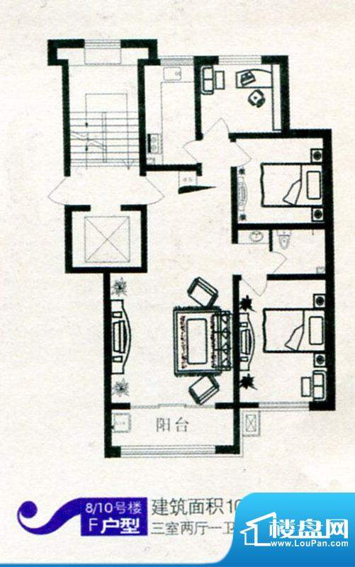 林湖左岸F户型 3室2面积:107.33m平米