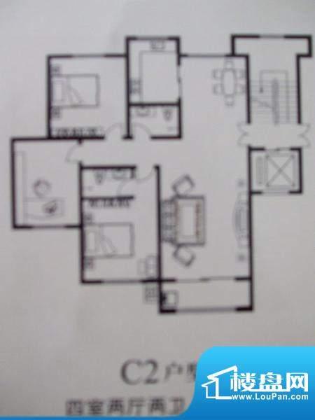 林湖左岸C2户型 4室面积:195.00m平米