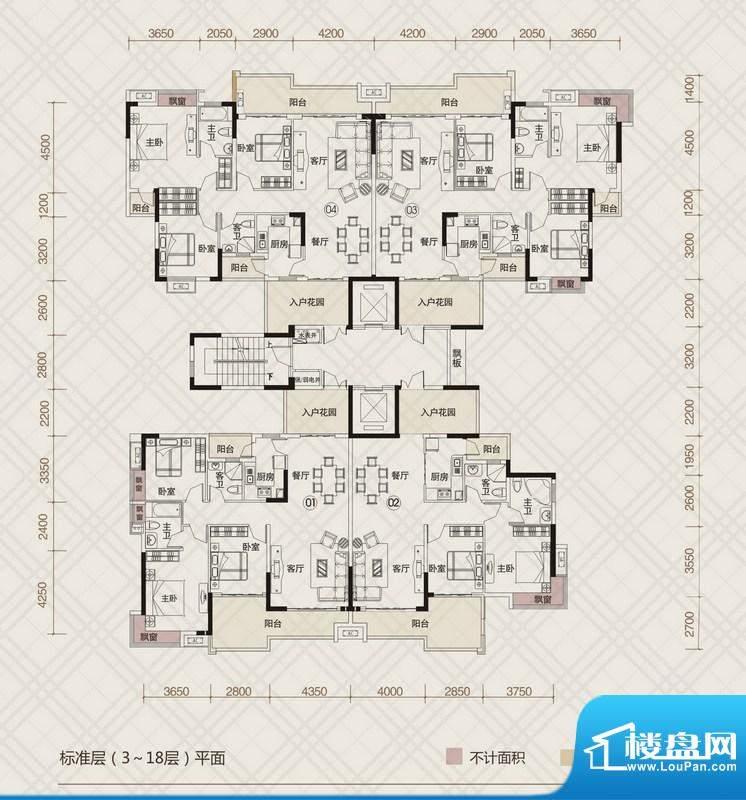 中环星座4栋标准层平面积:123.39m平米